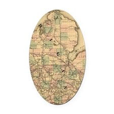Vintage Map of The Michigan Railro Oval Car Magnet