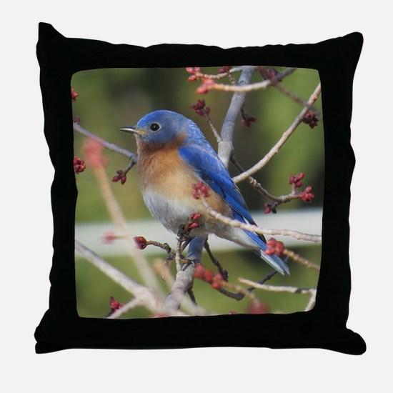 Red Bud Bluebird Throw Pillow