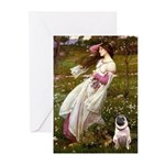 Windflowers / Pug Greeting Cards (Pk of 20)