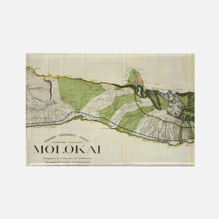 Vintage Map of Molokai Hawaii (19 Rectangle Magnet