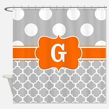 Gray Orange Dots Quatrefoil Monogram Shower Curtai