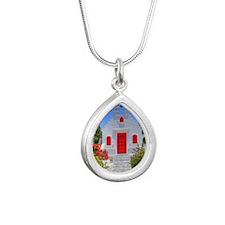Greek Chapel Silver Teardrop Necklace