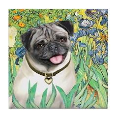Irises / Pug Tile Coaster