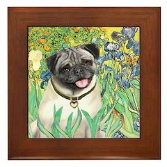 Irises / Pug Framed Tile