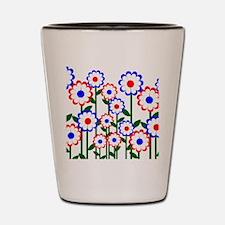 Retro Spring Flowers Shot Glass