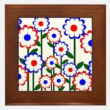 Retro Spring Flowers Framed Tile