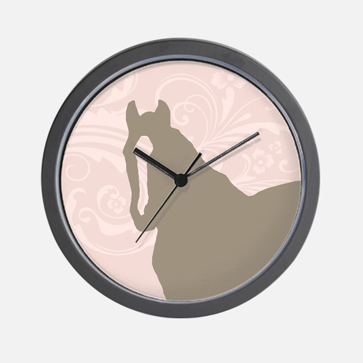 Pink and Brown Country Horse Girl Wall Clock