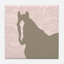Pink and Brown Country Horse Girl Tile Coaster