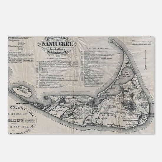 Vintage Nantucket Map Postcards (Package of 8)