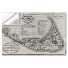 Vintage Nantucket Map Wall Decal