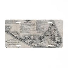 Vintage Nantucket Map Aluminum License Plate