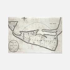 Vintage Map of Nantucket (1782) Rectangle Magnet