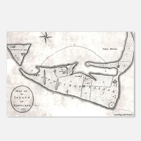 Vintage Map of Nantucket  Postcards (Package of 8)