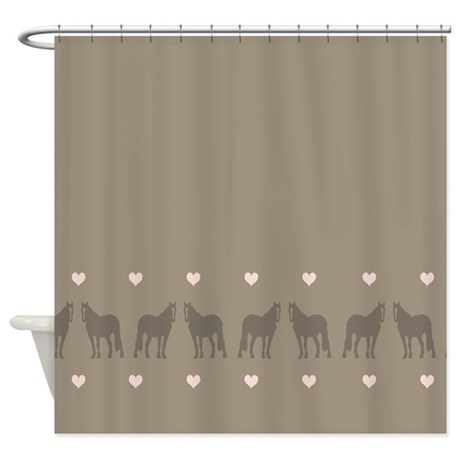 pink and brown country horse girl shower curtain by paintingpony