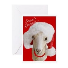 Goat- LaMancha Santa Greeting Cards (Pk of 10)