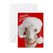 Goat- LaMancha Santa Greeting Cards (Pk of 20)
