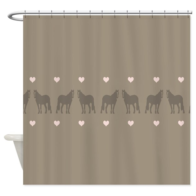pink and brown country horse girl shower curtain by paintingpony. Black Bedroom Furniture Sets. Home Design Ideas