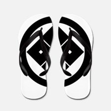 Tilted four-square-eyes in circle Flip Flops
