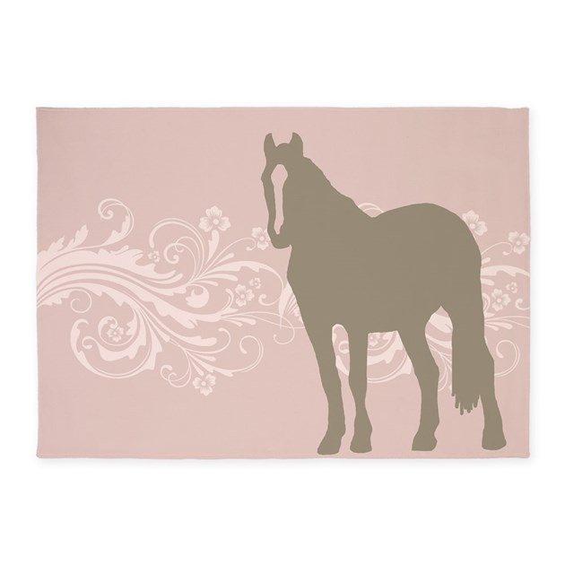 Pink And Brown Country Horse Girl 5'x7'Area Rug By