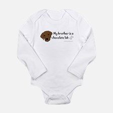 Cute Chocolate lab Long Sleeve Infant Bodysuit