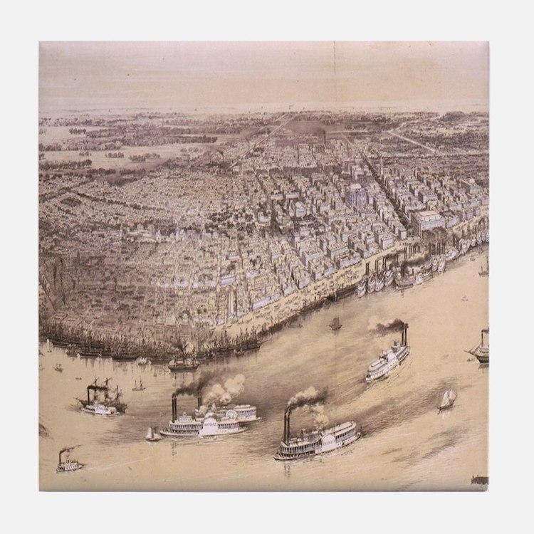 Vintage Pictorial Map of New Orleans  Tile Coaster