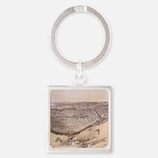 Vintage Pictorial Map of New Orlea Square Keychain