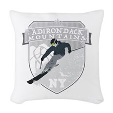 Ski Adirondacks Woven Throw Pillow