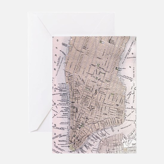 Vintage Map of New York City (1884) Greeting Card