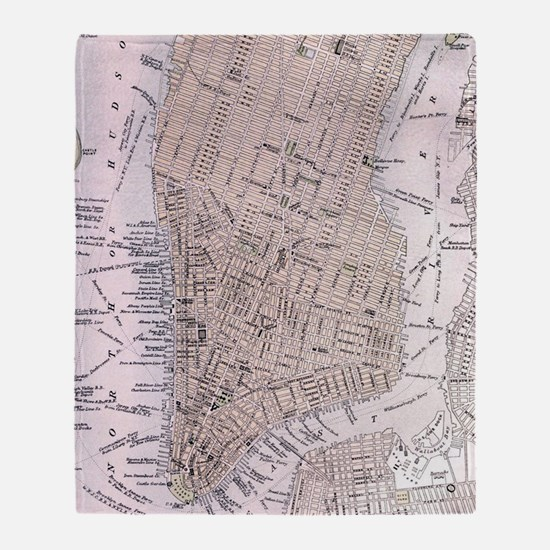 Vintage Map of New York City (1884) Throw Blanket