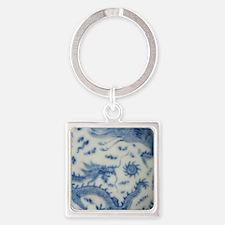 blue and white chinoiserie delft v Square Keychain