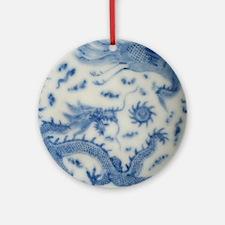 blue and white chinoiserie delft vi Round Ornament