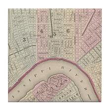 Vintage Map of New Orleans (1880) Tile Coaster