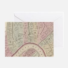 Vintage Map of New Orleans (1880) Greeting Card