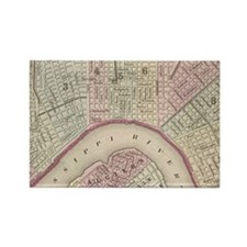 Vintage Map of New Orleans (1880) Rectangle Magnet