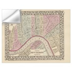 Vintage Map of New Orleans (1880) Wall Decal
