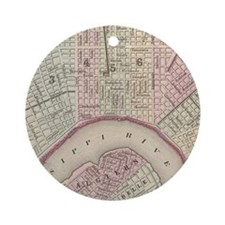 Vintage Map of New Orleans (1880) Round Ornament