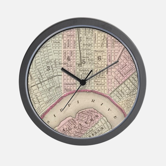 Vintage Map of New Orleans (1880) Wall Clock