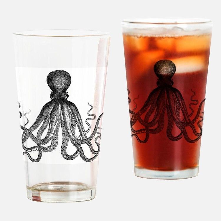 vintage kraken octopus sea creature Drinking Glass