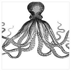 vintage kraken octopus sea creature monster antiqu Poster