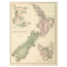 Vintage Map of New Zealand (1854) Poster