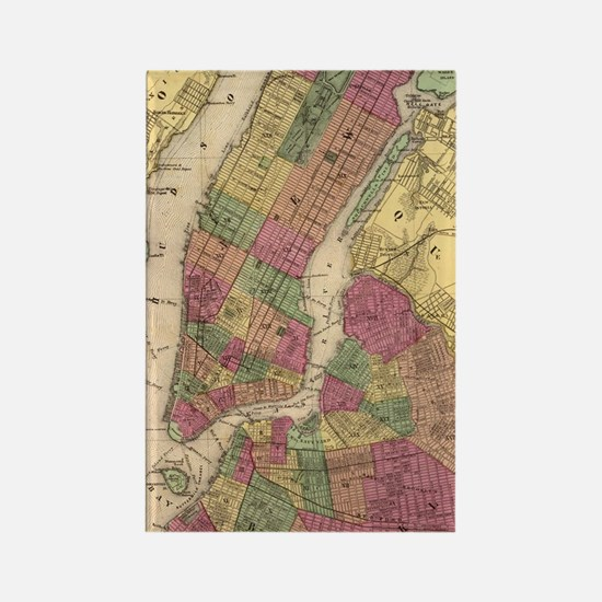Vintage Map of NYC and Brooklyn ( Rectangle Magnet