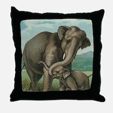 vintage elephant baby elephants cute  Throw Pillow