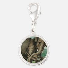 vintage elephant baby elephant Silver Round Charm