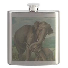 vintage elephant baby elephants cute mother  Flask
