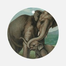 vintage elephant baby elephants cut Round Ornament