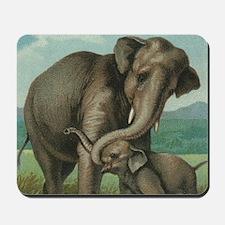 vintage elephant baby elephants cute mot Mousepad