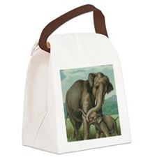 vintage elephant baby elephants c Canvas Lunch Bag