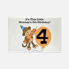 Little Monkey 4th Birthday Rectangle Magnet