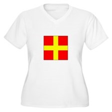 ICS Flag Letter R Plus Size T-Shirt