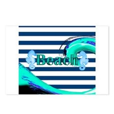 Beach on Stripes Postcards (Package of 8)